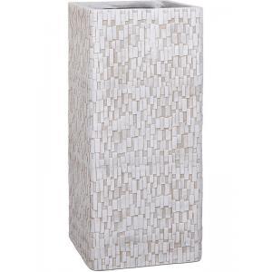 Capi Nature Stone 26x26x58cm hoge plantenbak ivoor