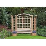 Houten rozenboog met tuinbank en bloembakken 270 x 287 cm