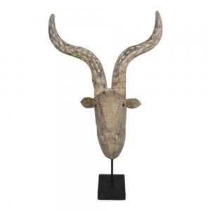 Houten beeld hertenkop 37x22x61 cm met voet
