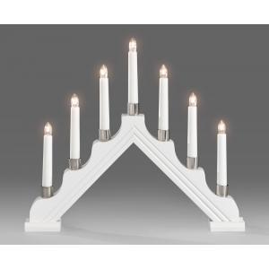 Kerstkandelaar wit gelakt hout met 7 lampjes
