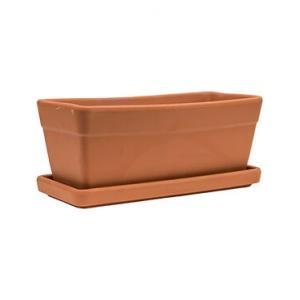 Terracotta pot rechthoekige balkonbak M 40x17 cm met schotel set