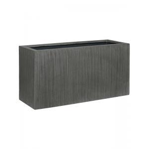 Cuboid Ridged Vertical Jort S Dark grey 80x30x40 cm rechthoekige bloempot