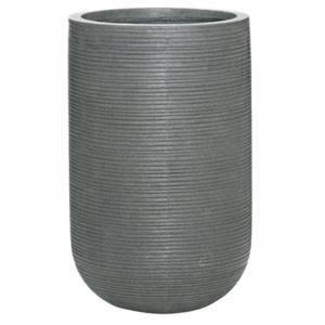 Hoge pot Ridged Horizontal Cody High S Dark grey 28x45 cm hoge ronde bloempot