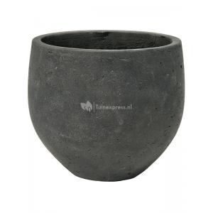Pot Rough Orb S Black Washed Fiberclay 18x15 cm zwarte ronde bloempot