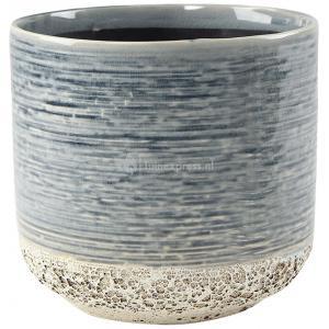 Hoge pot Issa Tall Light Blue 14x19cm blauwe hoge ronde bloempot voor binnen