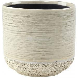 Pot Issa Light Grey 13x13cm grijze ronde bloempot voor binnen