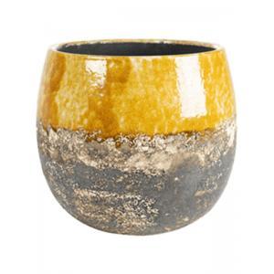 Pot Lindy Ochre Okergele ronde bloempot voor binnen 16 cm